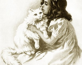 8x10 Print -Girl With Cat- From 1912  Book Illustration