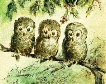 Package of 6 Blank Note Cards, 3 Owls