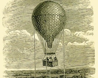 Package of 12 Blank Note Cards,  Hot Air Ballon From 1875  Book Iluustration.