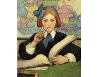 The Scholar, from 1909 Book Illustration, Blank Note Card, Free Shipping