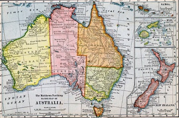 X Print Map Australia New Zealand Fiji And Samoa In - Map of australia and new zeland