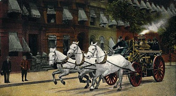 8x10 Print  NYC-Horse Drawn Fire Wagon, from Vintage Postcard.