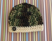 Green Camouflage Newborn Baby Beanie Cap With Band And Button - Hand Crocheted