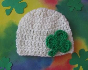 Hand Crocheted St. Patrick's Day Newborn Beanie Cap