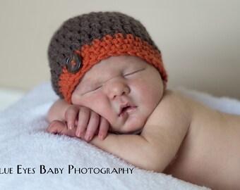 Newborn Baby Boy Beanie Cap With Button - Hand Crocheted