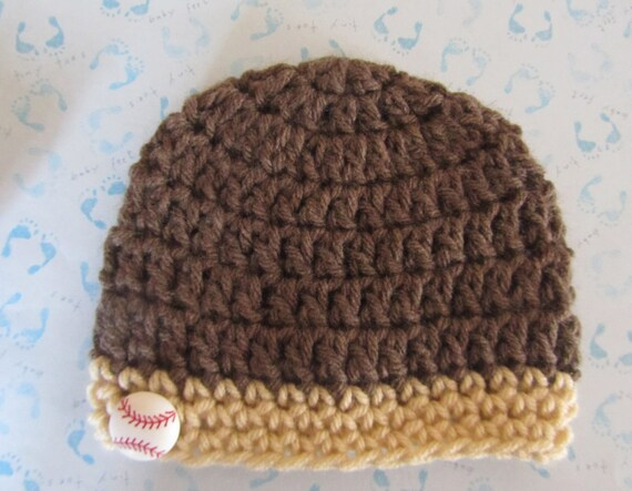 Hand Crocheted Newborn Baby Boy Beanie Cap (Baseball Button)
