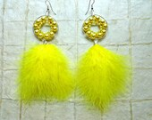 Yellow Pearl & Feather Dream Catcher  ((E488)