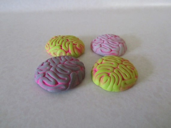 Zombie Brain cabochon flat back green and gray with neon pink wash