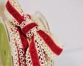 Red Velvet and Crochet Ribbon- 2 Yards