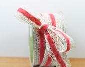 Rose Velvet and Crochet Ribbon- 2 Yards