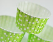 Lime Green Polka Dot Baking, Candy, or Portion Cup