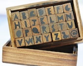 Modern Alphabet Stamps in Wooden Box