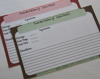 30 Personalized 4x6 Recipe Cards Double Sided
