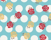 SALE Sew Cherry Sew Rose Dots in Blue by Lori Holt of Bee in my Bonnet for Riley Blake 1 Yard