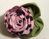 Pink Leopard Print Rose Hair Clip