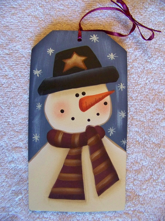 Snowman Blue Gift Tag Christmas Ornament