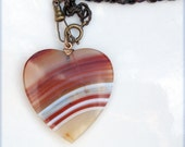 Reserved -  Victorian Revival Scottish Banded Agate Heart with Reed Watch Chain