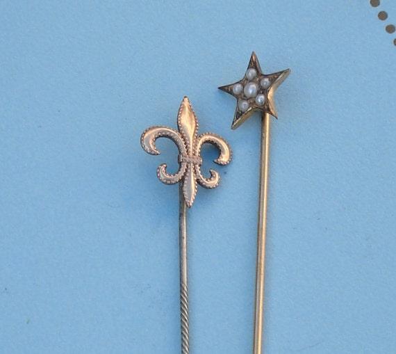 Victorian Gold Fleur de Lis and Star Stick Pins