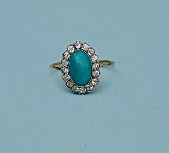 Reserved for K /////   Georgian Revival 9k Gold and SIlver Amazonite Ring
