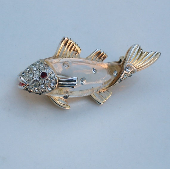 Coro Gold and Lucite Fish Brooch
