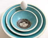 French Country Farmhouse Aqua Blue Nesting Bowls with Bird Nests and Eggs Cottage Chic