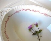 Vintage Cottage Chic Serving Bowl Pink Floral Spring Entertaining Shabby Chic