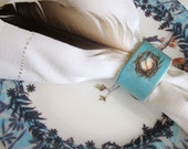 French Country Farmhouse Napkin Rings  Nest and Eggs Set of 4 Cottage Chic Aqua Blue
