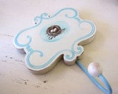 French Country Wall Hook  Shabby Chic Farmhouse Bird Nest Aqua Blue Cottage Chic
