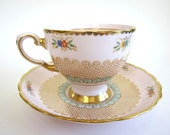 Vintage Tuscan Fine English Bone China Pin and Aqua Teacup Shabby Chic