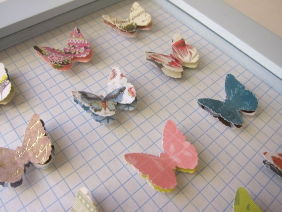 Shabby Chic Cottage Paper Butterfly Collection  Home Decor