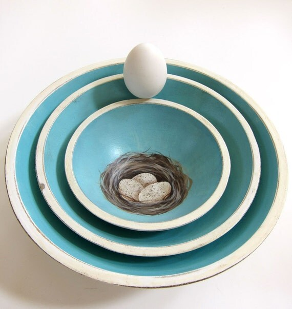 French Country Hand Painted Nesting Bowls Turquoise Blue with Nest and Eggs Cottage Chic
