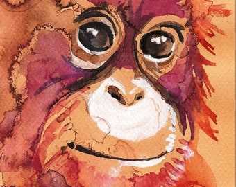 Baby Orangutan-- Artist-signed Watercolor Print