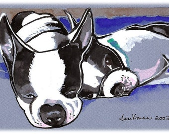 Snoozing Boston Terriers Watercolor Painting Print, Artist Signed