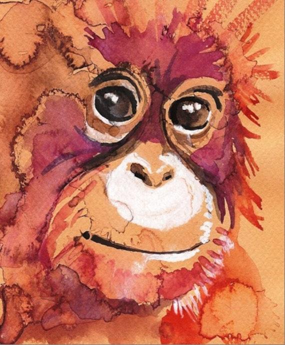 Baby Orangutan-- Artist-signed Watercolor Print