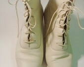 creme lace up granny boots 7.5 or 8