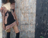 handmade reconstructed batwing cashmere pashmina  one of a kind mini bohemian dress size xs sm or med