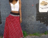 50% off Vintage  BOHEMIAN  hippie skirt  indian silk beaded  ethnic low waist size sm med or lrg
