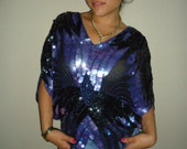 vintage art deco sequin black and purple butterfly blouse size sm or med