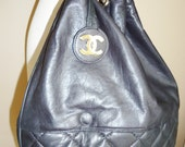 Everything must go sale vintage CHANEL black classic chain lambskin leather handbag purse