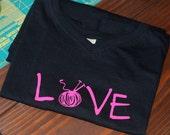Knit Love T-Shirt Women's V-Neck Size Medium
