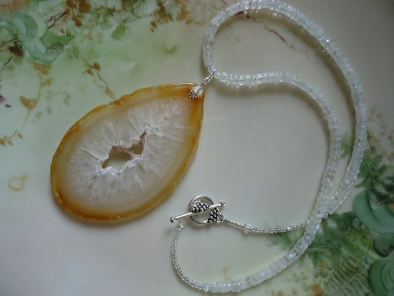 RESERVED for DC -Lemon Slice: A Natural Druzy Agate Pendant and Moonstone Necklace