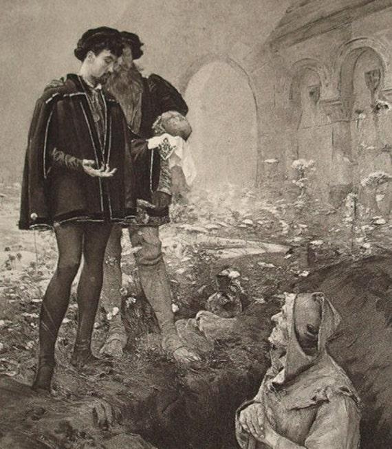 Hamlet and the Gravedigger- 1892 Vintage Book Photogravure