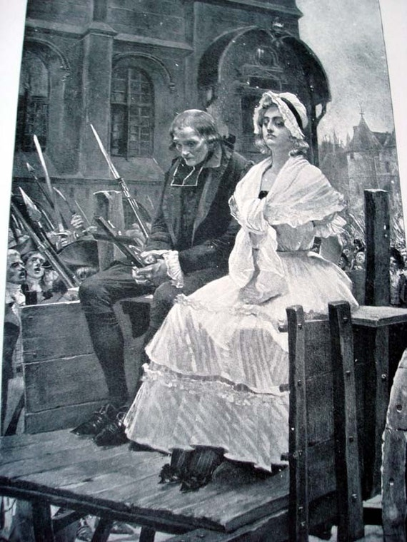 Marie Antoinette on her way to the Guillotine 1892 Vintage