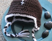 Football hat beanie crochet knit with Ear flaps and ties newborn, infant, toddler, child