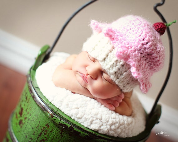 Cupcake Hat SALE Crochet knit beanie Sweetest Treat Hat you choose frosting and cake base newborn, infant, child