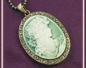 Roaring 20's Victorian Cameo-Light Sage Green-Necklace  U 5200