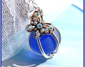 Cobalt Blue Sea Marble Butterfly Locket - Necklace  C 7072