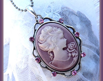 Mauve Rose-Roaring 1920's Antique Style-Necklace  U 5177