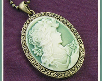 Roaring 20's Victorian Cameo-Lovely In Green-Necklace