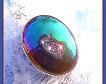 Titanium Druzy Crystal Containing Stone-Necklace- Gift  U 5279